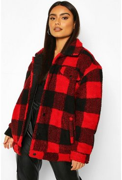 Red Check Teddy Faux Fur Trucker