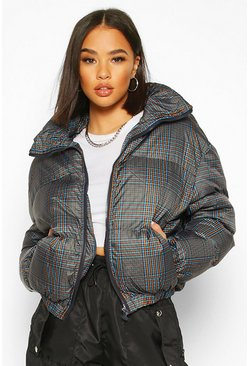 Grey Check Funnel Neck Puffer