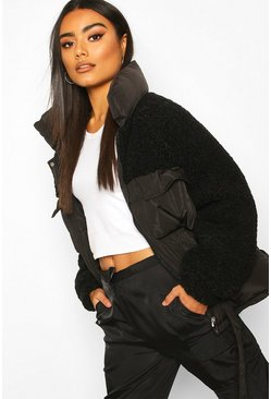 Black Teddy Panel Puffer Jacket