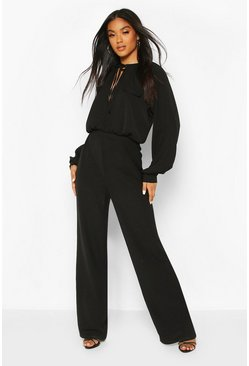 Black Tie Detail Blouson Sleeve Woven Jumpsuit