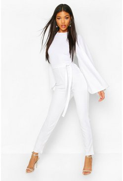 White Cape Flute Sleeve Belted Jumpsuit