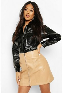 Camel Zip Front Pocket Detail Leather Look Mini Skirt