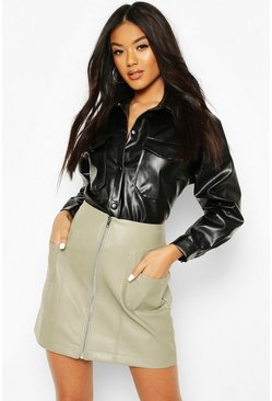 Sage Zip Front Pocket Detail Leather Look Mini Skirt
