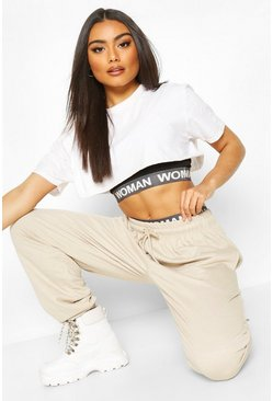 Ecru Oversized Basic Loopback Jogger