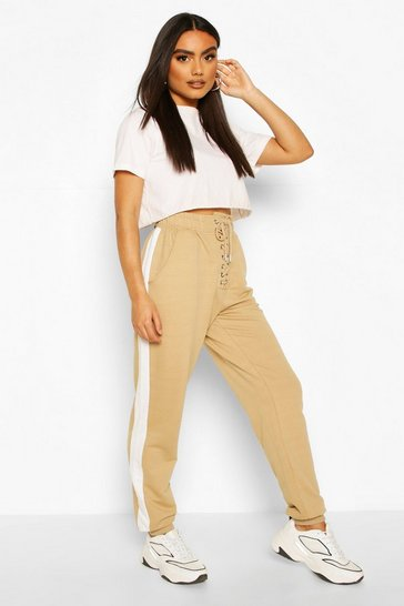 Sand Lace Up Front Loopback Jogger