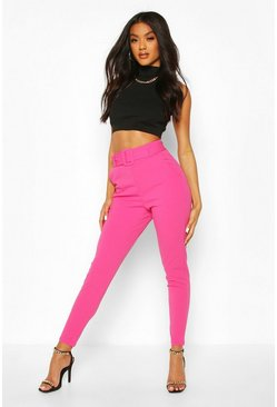 Hot pink Scuba Crepe Belted Slim Fit Pants