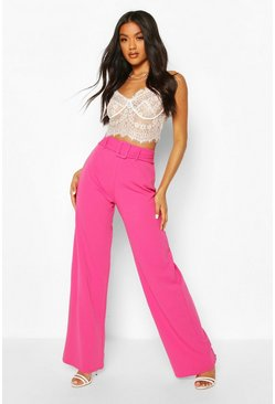 Hot pink Scuba Crepe Belted Wide Leg Pants