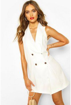 White Occasion Tailored Tux Dress