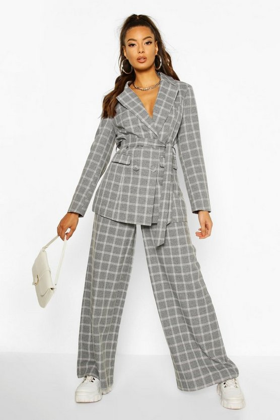 Grey Check Wide Leg Tailored Trousers