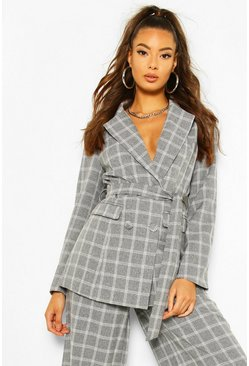 Grey Check Double Breasted Belt Blazer