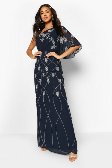 Navy Bridesmaid Hand Embellished One Shoulder Cape Maxi
