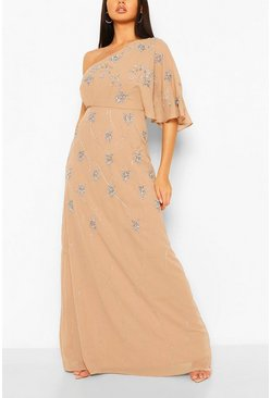 Taupe Bridesmaid Hand Embellished One Shoulder Cape Maxi