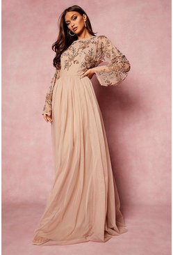 Blush Bridesmaid Hand Embellished Long Sleeve Maxi Dress