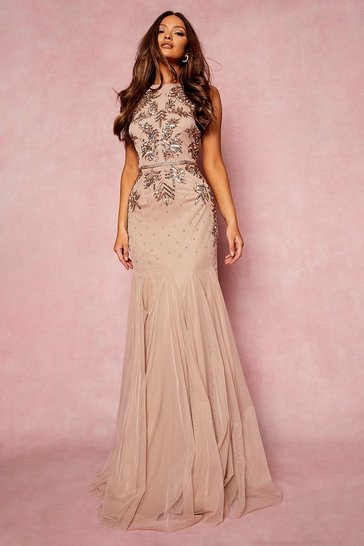 Blush Bridesmaid Hand Embellished Halter Maxi Dress