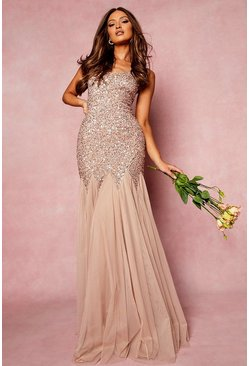 Blush Bridesmaid Hand Embellished Godet Mesh Maxi Dress