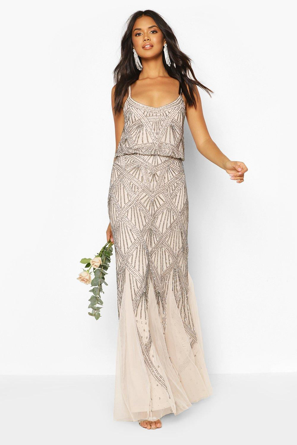 Flapper Outfit: How to Dress Like a 20s Flapper Girl Womens Bridesmaid Strappy Hand Embellished Godet Maxi - Beige - 14 $96.00 AT vintagedancer.com