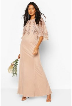 Blush Bridesmaid Hand Embellished Cape Maxi Dress