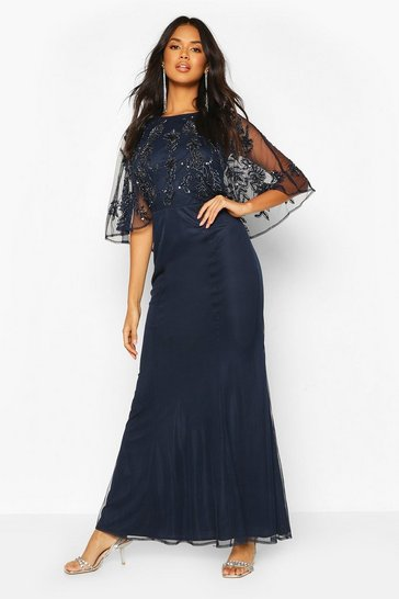 Navy Bridesmaid Hand Embellished Cape Maxi Dress