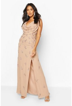 Blush Bridesmaid Hand Embellished Cowl Detail Maxi Dress