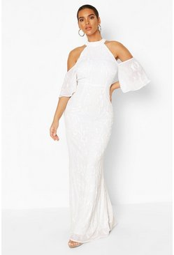 White Bridemaid Hand Embellished Cold Shoulder Maxi