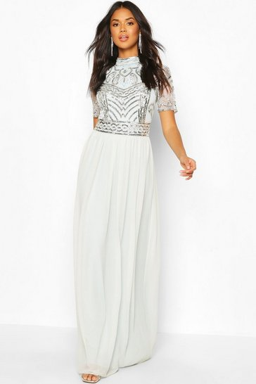 Ice blue Bridesmaid High Neck Hand Embellished Maxi Dress