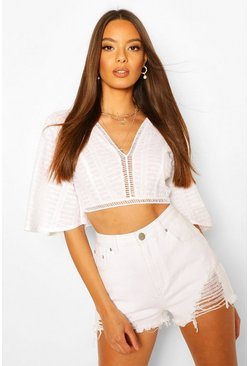 White Embroidered Broderie Flute Sleeve Crop Top