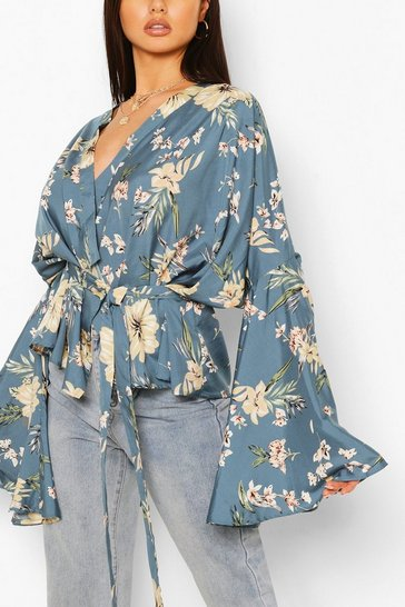 Blue Wrap Front Flare Sleeve Blouse