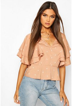 Mocha Mix Scale Polka Dot Ruffle Sleeve Blouse
