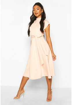 Blush Funnel Neck Belted Midi Skater Dress
