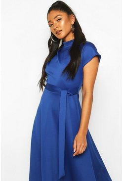 Cobalt Funnel Neck Belted Midi Skater Dress