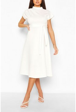 White Funnel Neck Belted Midi Skater Dress