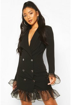 Black Ruffle Organza Button Front Blazer Dress