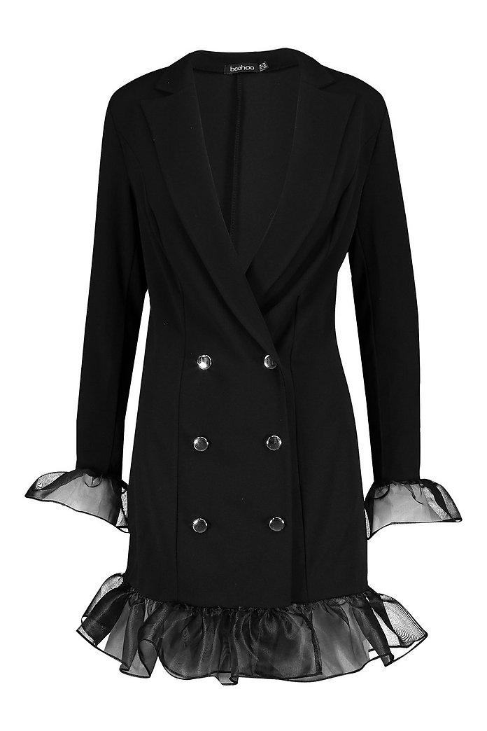 Ruffle Organza Button Front Blazer Dress | boohoo