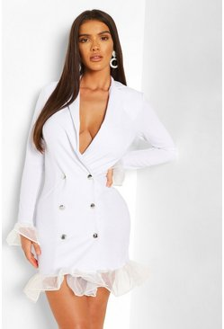 White Ruffle Organza Button Front Blazer Dress