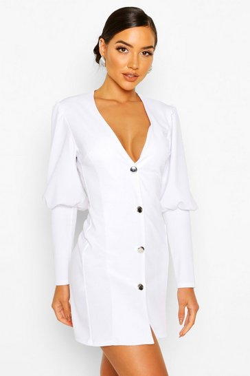 White Puff Sleeve Plunge Button Front Blazer