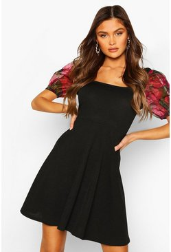 Black Organza Floral Puff Sleeve Skater Dress