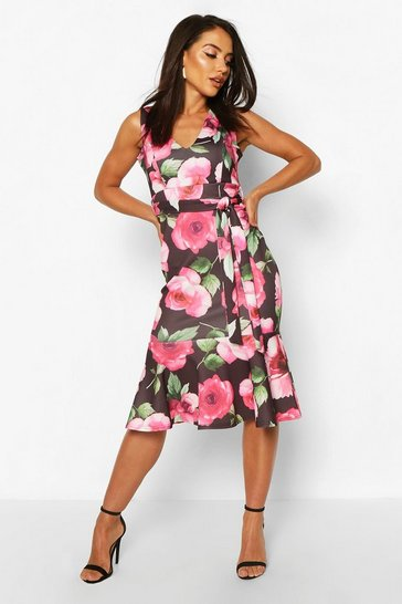 Black Large Floral Print Belted Frill Hem Midi Dress