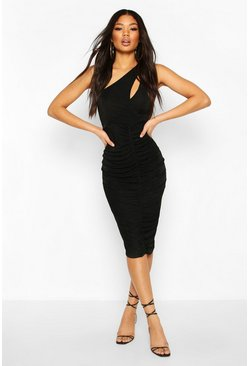 Black Textured Slinky One Shoulder Ruched Midi Dress