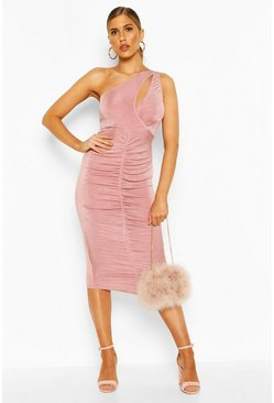 Rose Textured Slinky One Shoulder Ruched Midi Dress