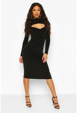 Black Textured Slinky Slash Neck Midi Dress