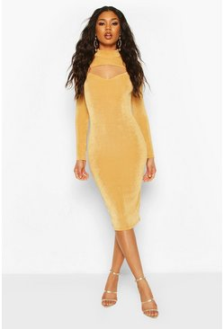 Gold Textured Slinky Slash Neck Midi Dress