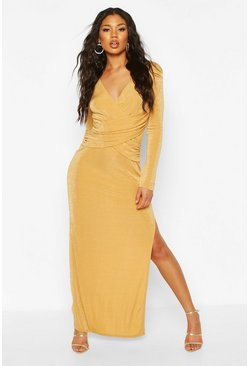 Gold Textured Slinky Wrap Detail Split Maxi Dress