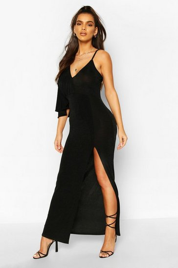 Black Textured Slinky Flute Sleeve Split Maxi Dress