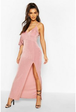 Rose Textured Slinky Flute Sleeve Split Maxi Dress