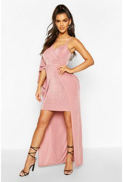 Rose Textured Slinky Cape Detail Detail Dress