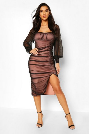 Black Square Neck Puff Sleeve Ruched Split Midi Dress