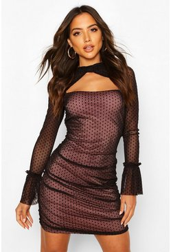 Black Mesh Polka Dot Long Sleeve Mini Dress