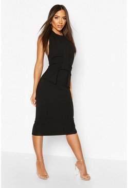 Black Pleat Wrap Detail Midaxi Dress