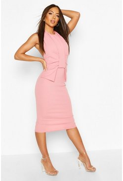 Rose Pleat Wrap Detail Midaxi Dress