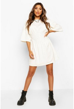 White Corset Detail T-Shirt Dress